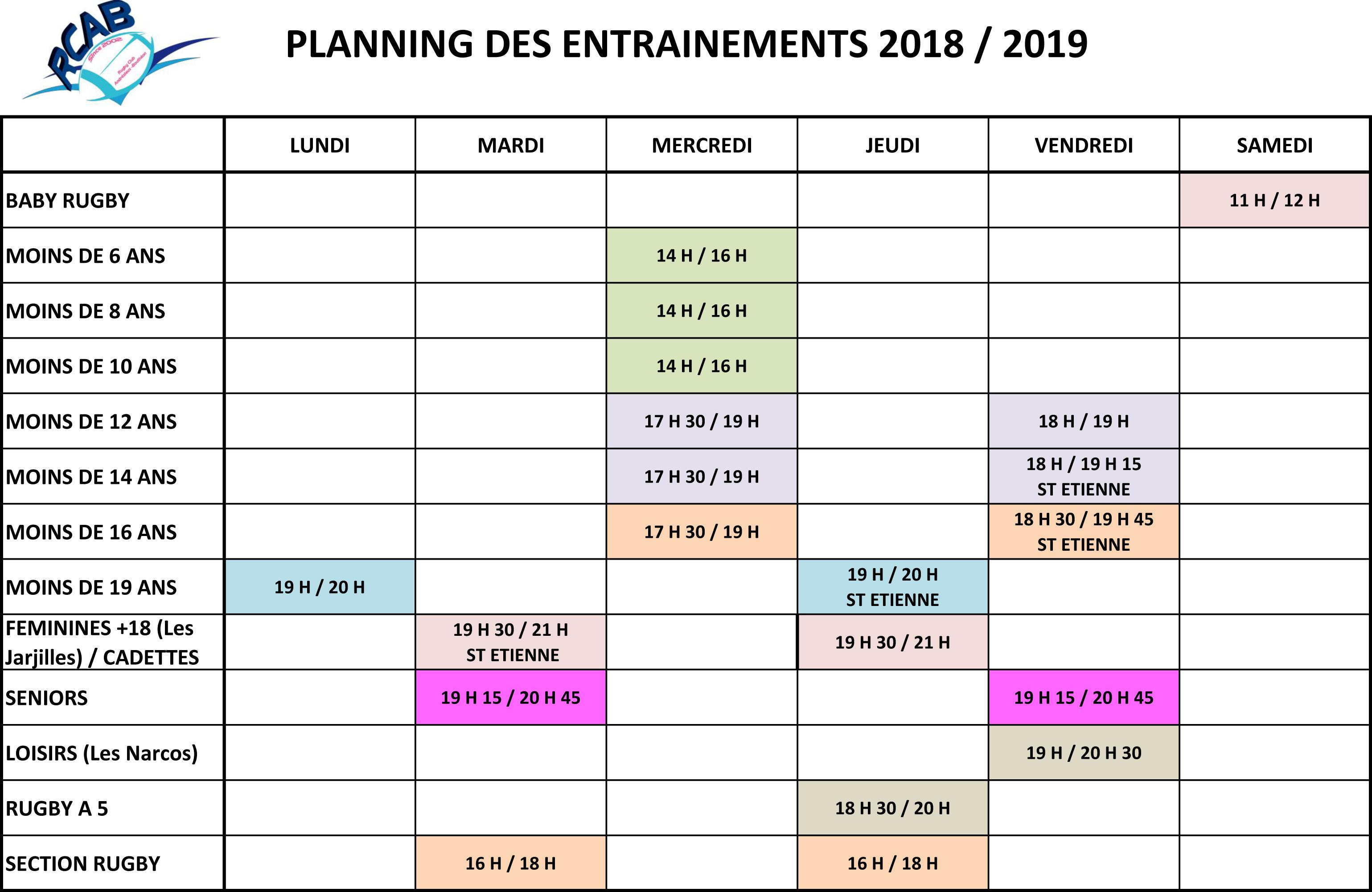 Planning-entrainements